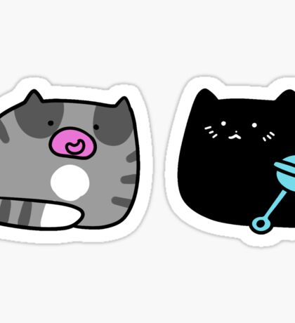 Black Kitten and Gray Tabby Kitten Sticker