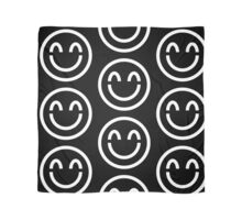 The Internet Generation Collection - Smiling Emoji with Closed Eyes - White and Black Pattern Scarf