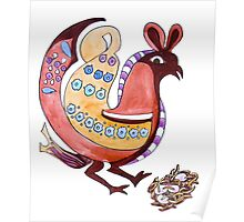 Folksy Chicken has Eggs Poster