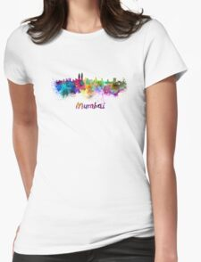 Mumbai skyline in watercolor Womens Fitted T-Shirt