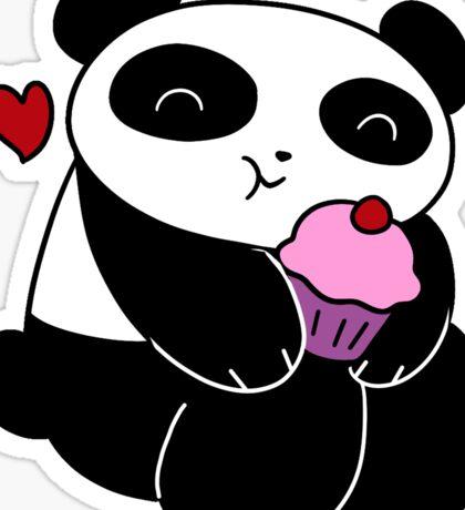 Panda Loves Cupcakes Sticker