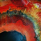 Red gold black abstract paintng by Eraclis Aristidou