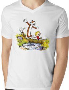 Calvin and Hobbes T-Shirt Mens V-Neck T-Shirt