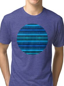 Draw the Line Watercolour Pattern Design in Shades of Blue Tri-blend T-Shirt