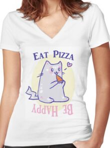 Eat Pizza- Be Happy Women's Fitted V-Neck T-Shirt