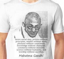Seven Social Sins - Mahatma Gandhi Unisex T-Shirt