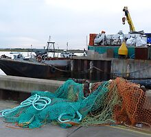 Fishing nets and boats by Sandra Caven