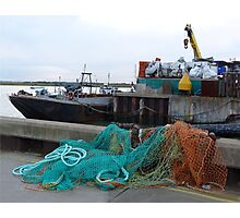Fishing nets and boats Photographic Print