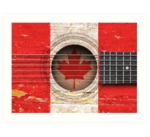 Old Vintage Acoustic Guitar with Canadian Flag Art Print