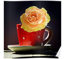 Yellow Rose in a polka dots Teacup Poster