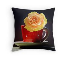 Yellow Rose in a polka dots Teacup Throw Pillow