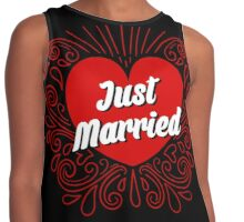 Just Married Red Heart  Contrast Tank