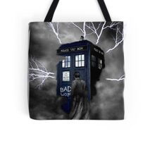 Ligthning Into Blue Bad Wolf Public Police Call Box Tote Bag