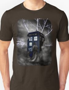 Ligthning Into Blue Bad Wolf Public Police Call Box T-Shirt