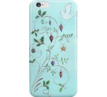 Christmas dove, swirls and ornaments iPhone Case/Skin