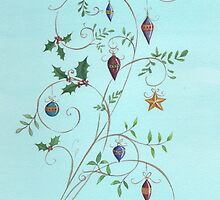 Christmas dove, swirls and ornaments by lizblackdowding