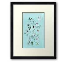 Christmas dove, swirls and ornaments Framed Print