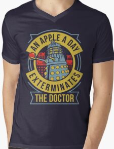 An Apple A Day Exterminates The Doctor Mens V-Neck T-Shirt