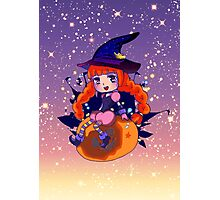 Chibi Halloween Witch alt. Photographic Print