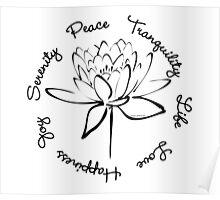 Serenity Tranquility Lotus (Black) Poster