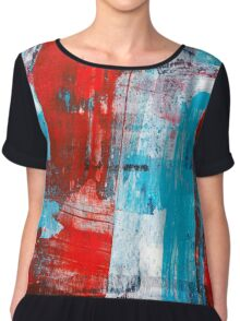 Modern Turquoise Abstract Chiffon Top