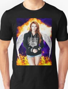 Random Model with Wings and fire in Nebula T-Shirt