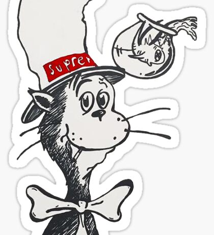cat in the 'preme Sticker