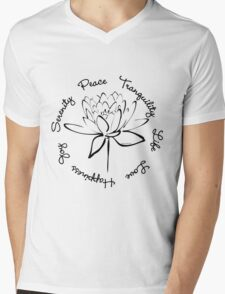 Serenity Tranquility Lotus (Black) Mens V-Neck T-Shirt