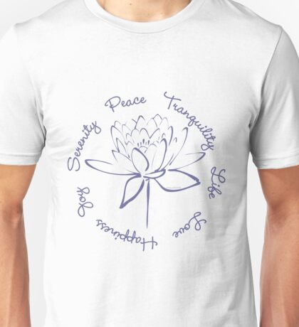 Serenity Tranquility Lotus (Blue) Unisex T-Shirt
