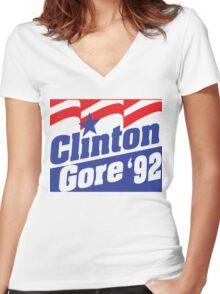 Clinton Gore '92 Liberal Democrat Presidential Logo 1992 Women's Fitted V-Neck T-Shirt