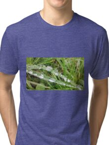 Grass Water Droplets Tri-blend T-Shirt