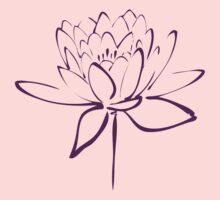 Lotus Flower Calligraphy (Purple) Kids Clothes