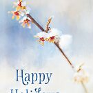 Happy Holidays - Frosted Witch Hazel Blossoms by Anita Pollak