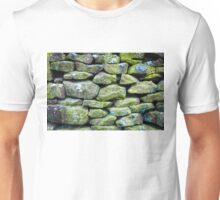 Closeup on a dry stone wall in yorkshire countryside, UK. Building materials pattern Unisex T-Shirt