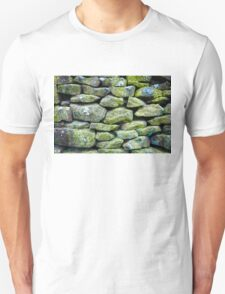 Closeup on a dry stone wall in yorkshire countryside, UK. Building materials pattern T-Shirt