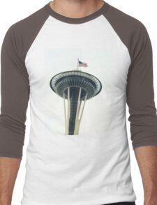 USA Flag Seattle Space Needle Men's Baseball ¾ T-Shirt