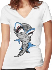 Shark Tornado Women's Fitted V-Neck T-Shirt