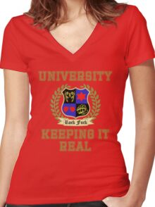 NSP University of Keeping it Real  Women's Fitted V-Neck T-Shirt
