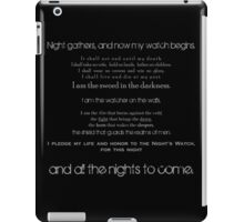 The Night's Watch Vows. iPad Case/Skin