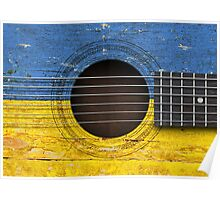 Old Vintage Acoustic Guitar with Ukrainian Flag Poster