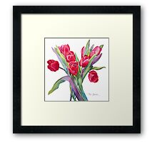 Springtime Red Tulips! Framed Print