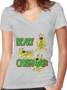 ALITTLEODDEVEN BEARY CHRISTMAS Women's Fitted V-Neck T-Shirt