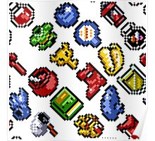 Legend of Zelda A Link to the Past / items 2 / pattern / white Poster