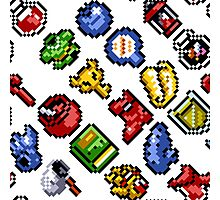 Legend of Zelda A Link to the Past / items 2 / pattern / white Photographic Print