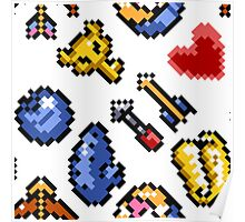 Legend of Zelda A Link to the Past (8 items pattern) white/transparent Poster