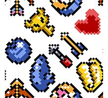 Legend of Zelda A Link to the Past (8 items pattern) white/transparent Photographic Print