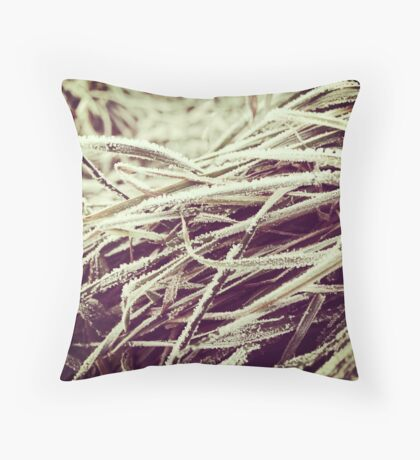 Frosty winter grass Throw Pillow
