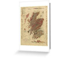 Vintage Geological Map of Scotland Greeting Card