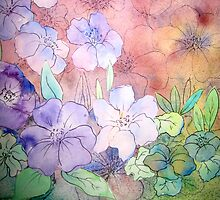 Floral Watercolour Collage 5 by Heather Holland by Heatherian