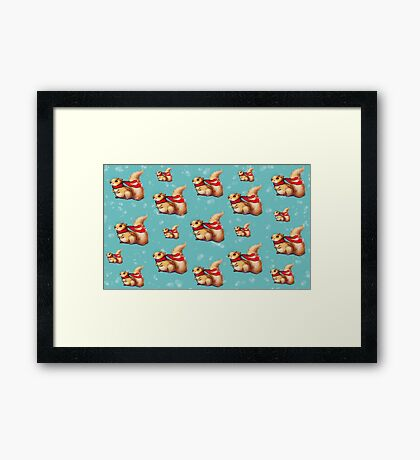 Cute Winter Squirrel in a Red Scarf Framed Print